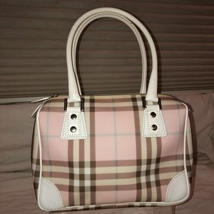 Burberry leather pink plaid purse